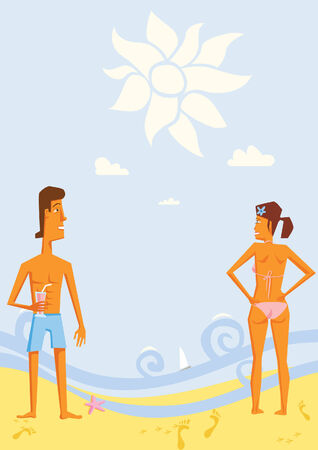 tallship: Man and Woman Standing on Shoreline at the Beach