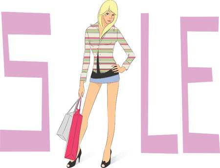 Sale, Shopping Girl Stock Vector - 5582420