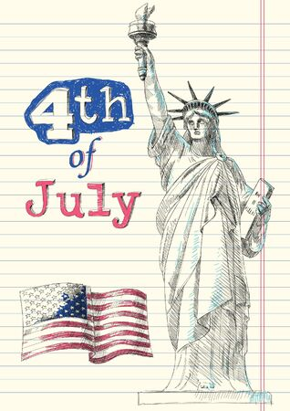 statue of liberty: Fourth of July Doodles