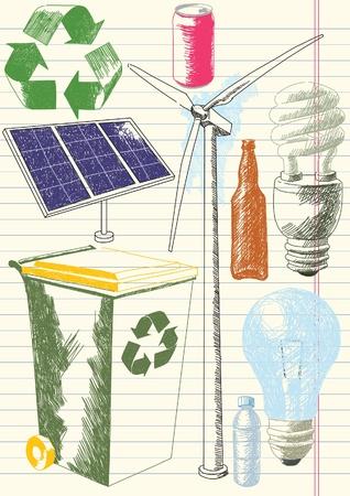 Dibujos de conservaci�n ambiental Foto de archivo - 9646205