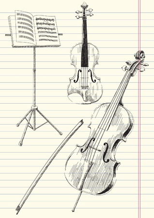 cello: Black and white drawing of classical stringed music instruments.