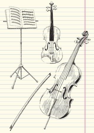 Zwart-wit tekening van klassieke strijkinstrumenten muziek instrumenten.