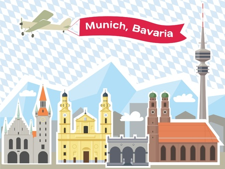 town hall: Munich Skyline, Illustrations of the most popular tourist attractions