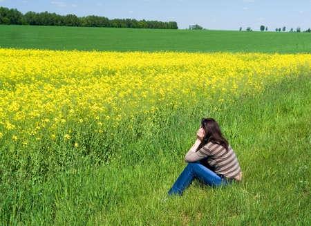 admiring: girl dreams admiring spring landscape Stock Photo