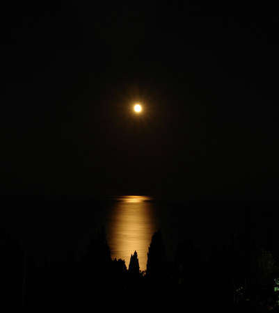 moonbeam  is reflected in the night seaborne Stock Photo - 5268317