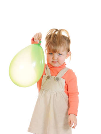 Portrait of the  girl with balloon isolated on white background Stock Photo - 6026743