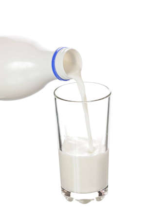 To pour milk from a bottle in a glass isolated on white background photo