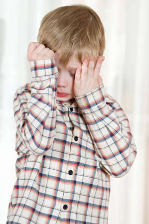 sad boy: Young boy sad and in trouble Stock Photo