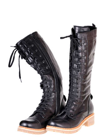 black female boots isolated on white background Stock Photo - 11702090