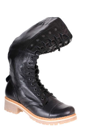 black female boot isolated on white background Stock Photo - 11702091