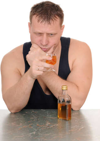 drunk man with a glass in his hand isolated on white background Stock Photo - 11864191
