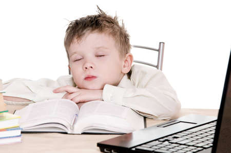 boy pupil sleeps for in time  homework photo