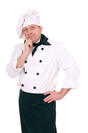 brooding: brooding chef looks up isolated on white background