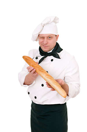 chef with French roll isolated on white background photo