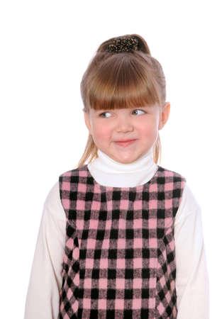 petite fille triste: triste petite fille isol�e sur fond blanc