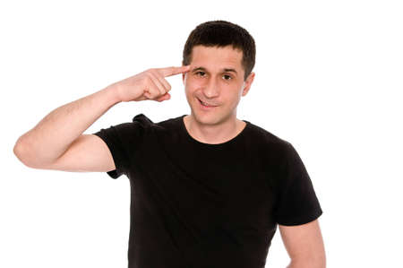crazy man: man in black T-shirt shows gesture crazy isolated on white background