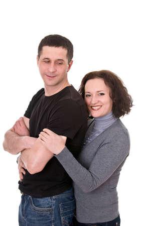 smiling couple isolated on white background Stock Photo - 12915087