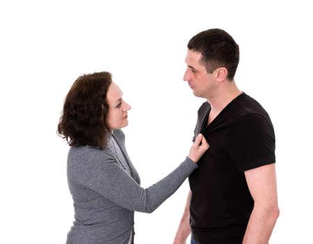 husband and wife quarrel isolated on white background Stock Photo - 12915093