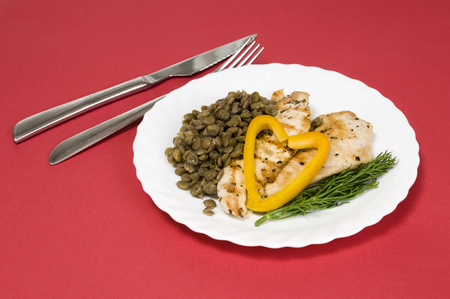 grilled chicken fillet on a white plate and red background