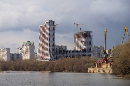 unfinished building: Unfinished Building at Construction Site, view from  Moscow river.
