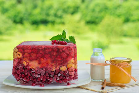 Jelly with berries: current, raspberry on green garden back.