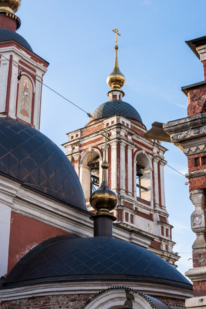 Orthodox church in moscow blue sky background