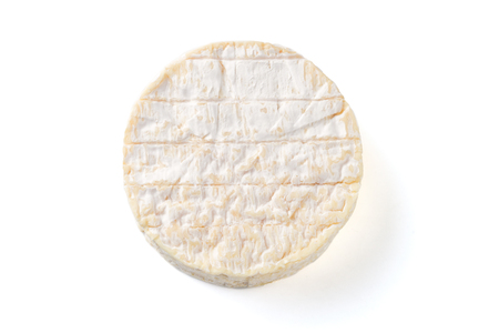 a Camembert cheese traditional Normandy French, dairy product on white background Stockfoto