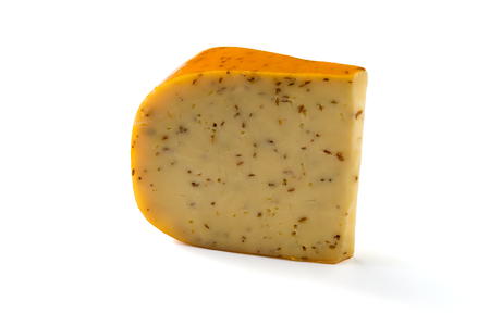 Portion of Gouda with cumin cheese isolated on white background