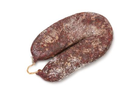 Pastrami, Basturma, pastirma jerked smoked sausage on white background Stock Photo
