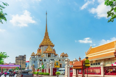 Wat Traimit - Temple of the Golden Buddha in Bangkok, Thailand, bright sunny day with blue sky