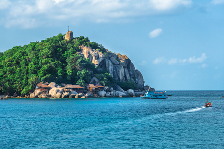 View of ko Tay island touristic tropical destination near Samui Thailand. Panorama of beautiful archipelago in turquoise water.