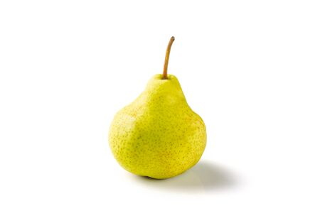 Green pear fruit isolated on white with clipping path