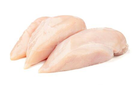 Threee fresh raw chicken on white background.