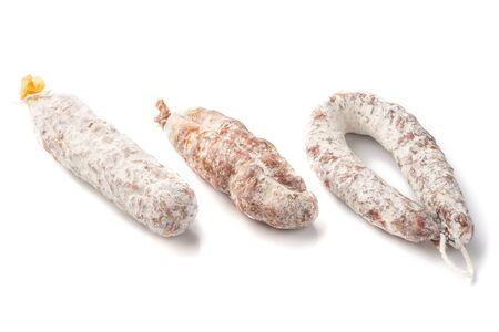 Three kinds of Air dried pork sausage , smoked meat, close-up, isolated on white background.