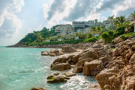 Resort with beautiful sea view at Samui. Exotic hotel with sea view in Thailand.