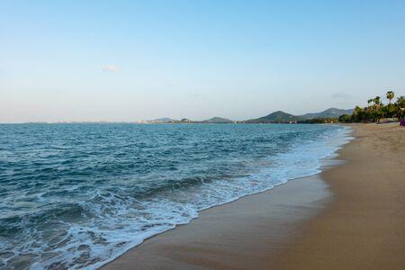 White sand beach and blue sky. Thailand Samui island.