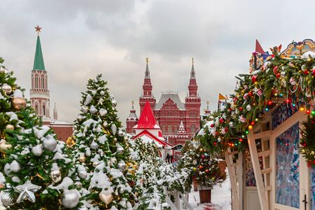 Festive christmas fur trees and decorations on streets of Moscow- capital of Christmas, Russia 写真素材