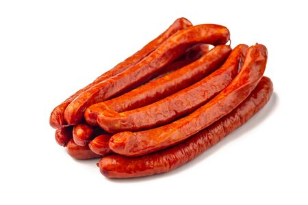 Oktoberfest Smoked dried pork Sausages, isolated on white background.