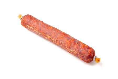 Smoked pork Sausage, Dry-cured meat, isolated on white background.