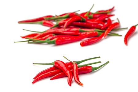 Rawat chili peppers, other names: Cabe Rawat, Prik, Thai Chili, Child's Eye. Isolated on white background.