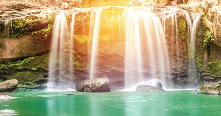 miracle leaf: Chattrakan Waterfall in Thailand water fall in deep forest at border of Phitsanulok province Thailand : soft focus Stock Photo