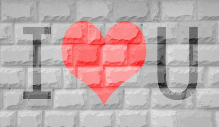 bumpy: Vintage Brick Wall Background and text i love you on wall Stock Photo
