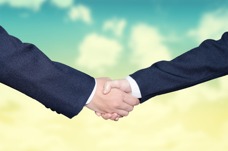 business hand shake: Business handshake and business people Stock Photo