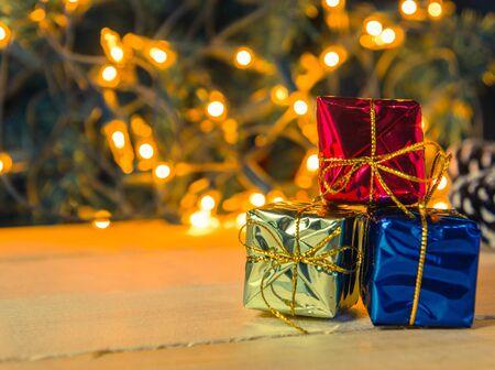christmas decor: christmas gift boxes decor on light background Stock Photo