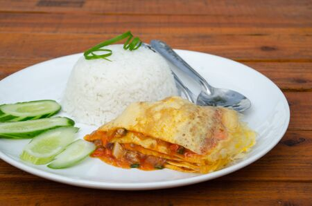 omelet: egg omelet with rice