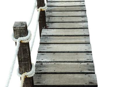 garden path: wood bridge on white background