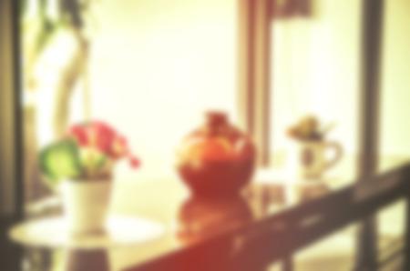 disparity: blurred Flowers in flowerpots Stock Photo