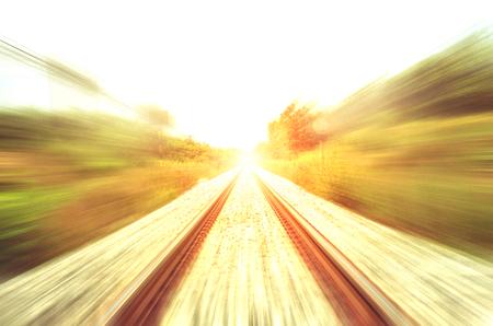 rapid steel: moving train railway Stock Photo