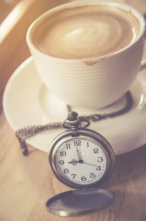 nine year old: vintage pocket watch with coffee cup