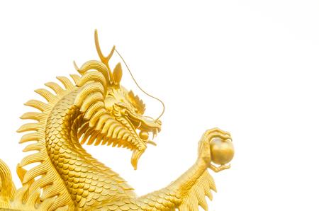 Glaçage de dragon d'or sur fond blanc (dragon, chinois) Banque d'images - 80064036